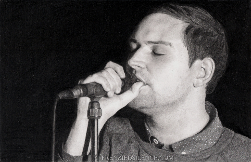 James Alexander Graham | The Twilight Sad frontman, drawn from a still of their Paisley Abbey performance. Finished 01 November 2014. I had the pleasure of giving this drawing to James at their in-store acoustic performance the day after I finished the work.